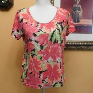 Kim Rogers Floral Print Short Sleeve Top